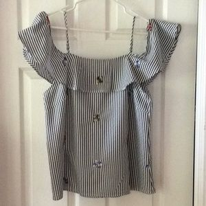White/Grey Striped Blouse with Leaf Accents Size L
